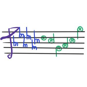 Green and purple trademark-themed music staff