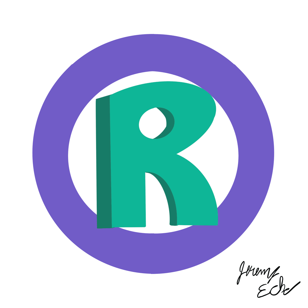 Green and purple registered trademark symbol illustration signed by Jeremy Eche. This is what you buy in a trademark marketplace.