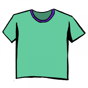 Green and purple cartoon t-shirt