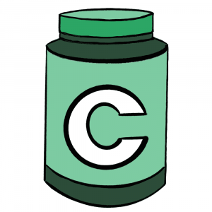 Communer green and white supplements cartoon