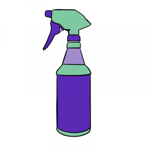 green and purple cleaning spray bottle cartoon