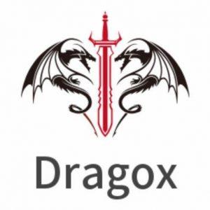 Dragox black dragon red sword logo