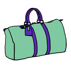 Green and purple travel bag cartoon