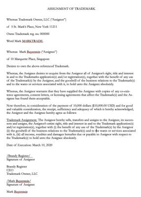 Communer TM Assignment Agreement Sample