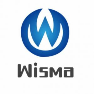 Wisma logo. Includes blue letter W with blue circle around it.