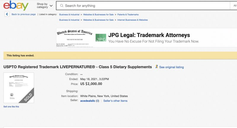 Screenshot of the completed eBay auction listing for the LivePerNature trademark registration.