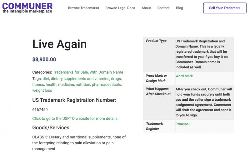 Screenshot of the Communer successful trademark listing for Live Again.