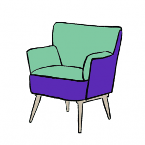 Green and purple accent chair illustration