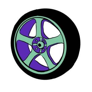 Green and purple car wheel illustration