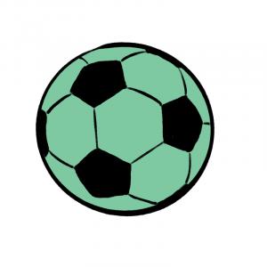 Green and black cartoon soccer ball